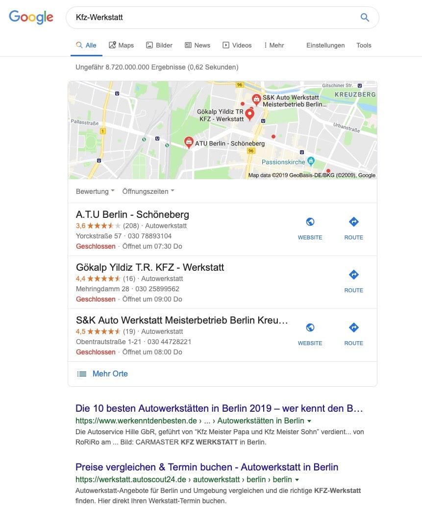 lokale Suchemaschinenoptimierung - Ergebnis